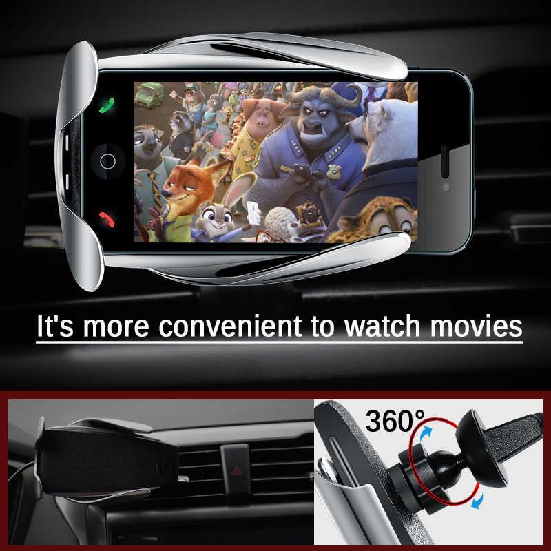 10W Wireless Charger Mobil S5 Otomatis Menjepit Cepat Pengisian Mount Pemegang Telepon Di Mobil untuk iPhone XR Huawei Samsung ponsel Pintar