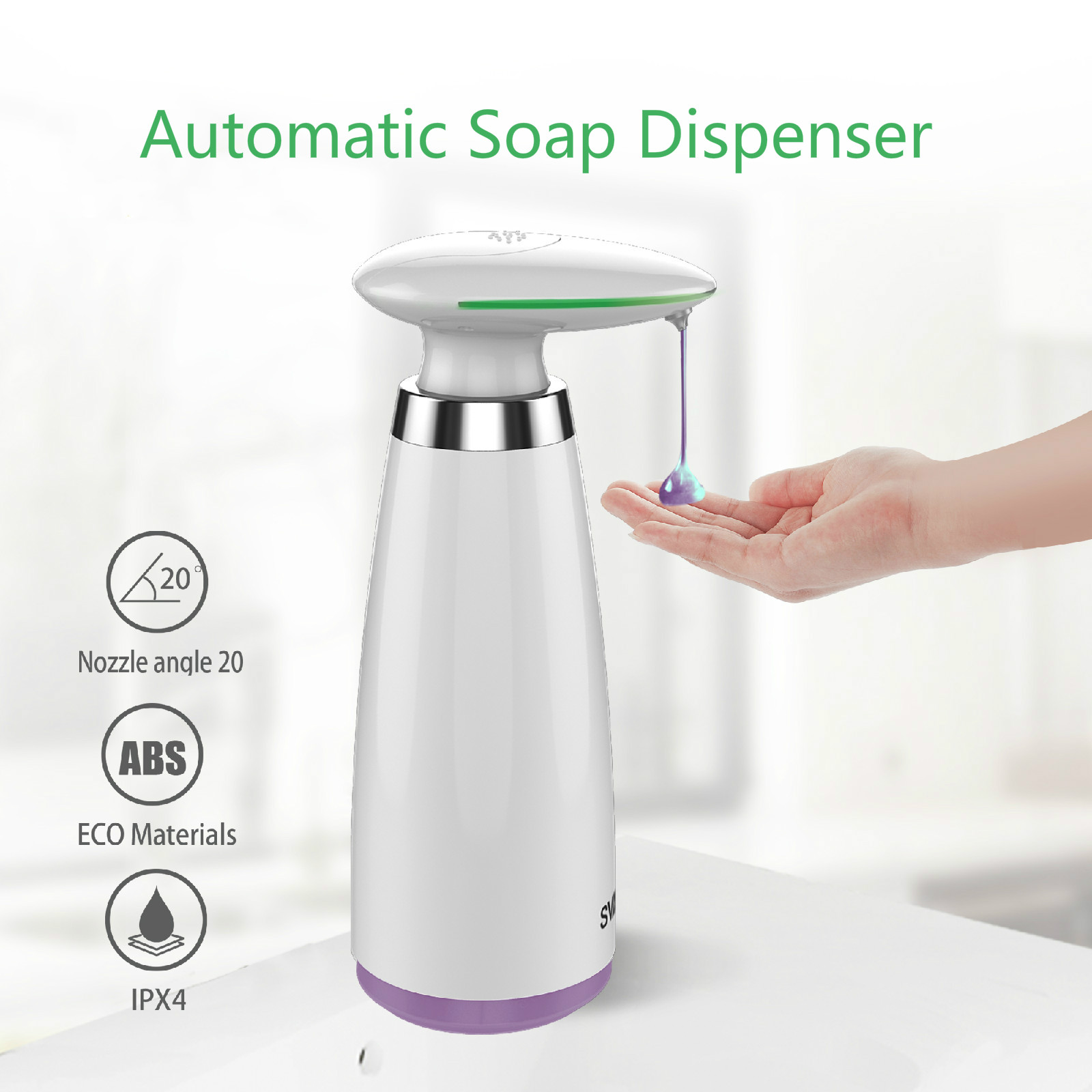 350ml Automatic Soap Dispenser Infrared Motion Hand Free Touchless Sanitizer Kitchen Bathroom Smart Sensor Liquid Soap Dispenser
