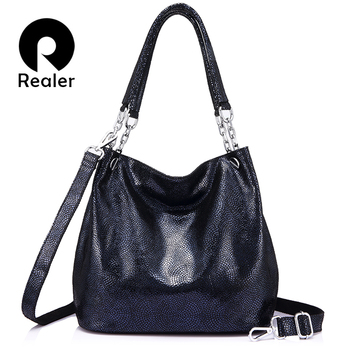 REALER genuine leather handbags female large messenger bag women shoulder bags fashion ladies top-handle bags high quality totes