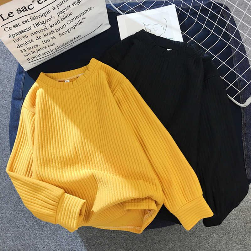 Surmiitro kobiet bluza na jesień 2019 moda damska koreański Kpop żółty biały czarne bluzy z kapturem kobiet z długim rękawem swetry