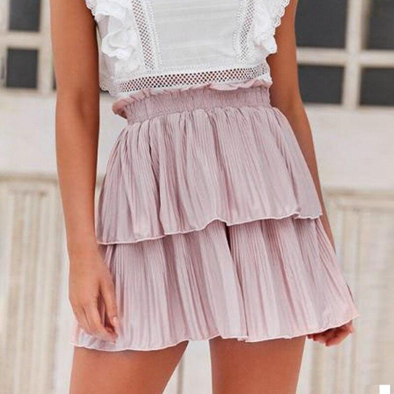 Conmoto Pleated Summer Beach Women Pink Skirts Holiday Elastic High Waist Casual Skirt Flounce Short High Fashion Kirts