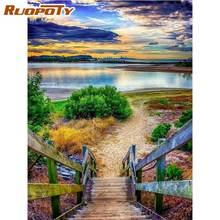 Ruopoty океан пляж река пейзаж краски s по номерам наборы для