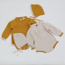 0-2Yrs jesienno-zimowa niemowlę dziewczynek pajacyki i kapelusz dziewczynek z długim rękawem ubrania pajacyki dziewczynek rękaw typu bombka pajacyki tanie tanio campure COTTON Unisex W wieku 0-6m 7-12m 13-24m Stałe Dla dzieci O-neck Swetry Pełna Pasuje prawda na wymiar weź swój normalny rozmiar
