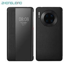 Cao Cấp Cảm Ứng Thông Minh Mate30pro Chính Hãng Da Điện Cho Huawei Mate 30 20 P30 Pro Mate20x Mate30 5G View cửa Sổ Bao Bọc Điện Thoại
