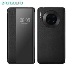 Luksusowe Smart Touch Mate30pro oryginalne skórzane etui z klapką etui na Huawei Mate 30 20 P30 Pro Mate20x Mate30 5G widok z okna telefon pokrywa w Etui na telefon z klapką od Telefony komórkowe i telekomunikacja na