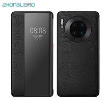 Luxus Smart Touch Mate30pro Echtem Leder Flip Fall für Huawei Mate 30 20 P30 Pro Mate20x Mate30 5G Ansicht fenster Telefon Abdeckung