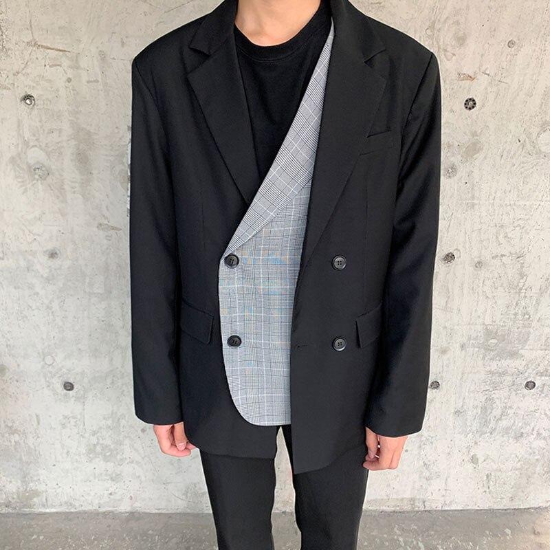 Men Fake Two Splice Plaid Casual Suit Blazer Coat Outerwear Male Women Streetwear Vintage Suit Jacket Overcoat