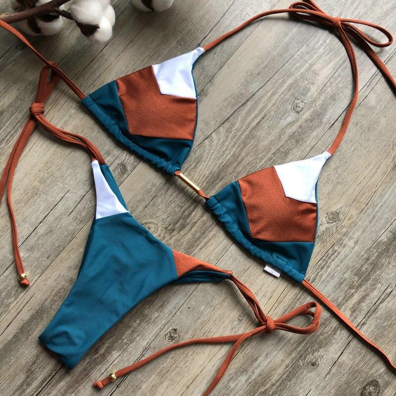 H6d51d34cdf15480b87f872e0313462414 Sexy Halter Swimsuit Women Thong Micro Bikini Push Up 2019 Brazilian Bikini Tropical Plant Print Swimwear String Mini Swimsuit