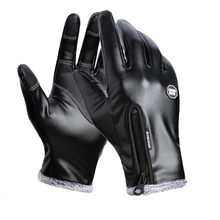 Gants de cyclisme en cuir pour hommes et femmes, complet, imperméable au vent, antidérapants, à écran tactile, équipement de sport en plein air