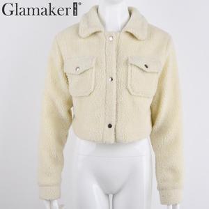 Image 5 - Женская короткая плюшевая куртка Glamaker, Белая теплая УКОРОЧЕННАЯ МЕХОВАЯ КУРТКА с искусственным мехом и карманами, осенняя уличная одежда, черное пальто
