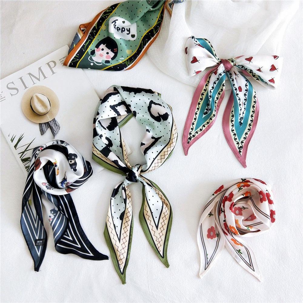 2020 New Women's Designer Dog Horse Animal Print Neck Handbag Scarf Foulard Femme Flower Ponytail Hair Headband Scarfs Bandanas
