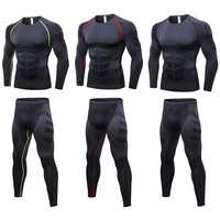 Men's Tight Training Sports Trousers Long Sleeve Tops Fitness Sportswear Set YLSPR0085