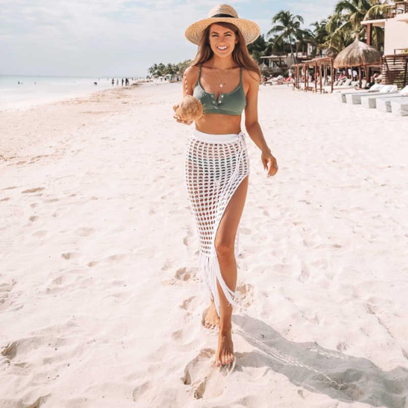 2020 verão vestido de praia borla saia longa mulher sexy praia cobrir quimono envoltório elegante sem mangas praia saia net festa crochê