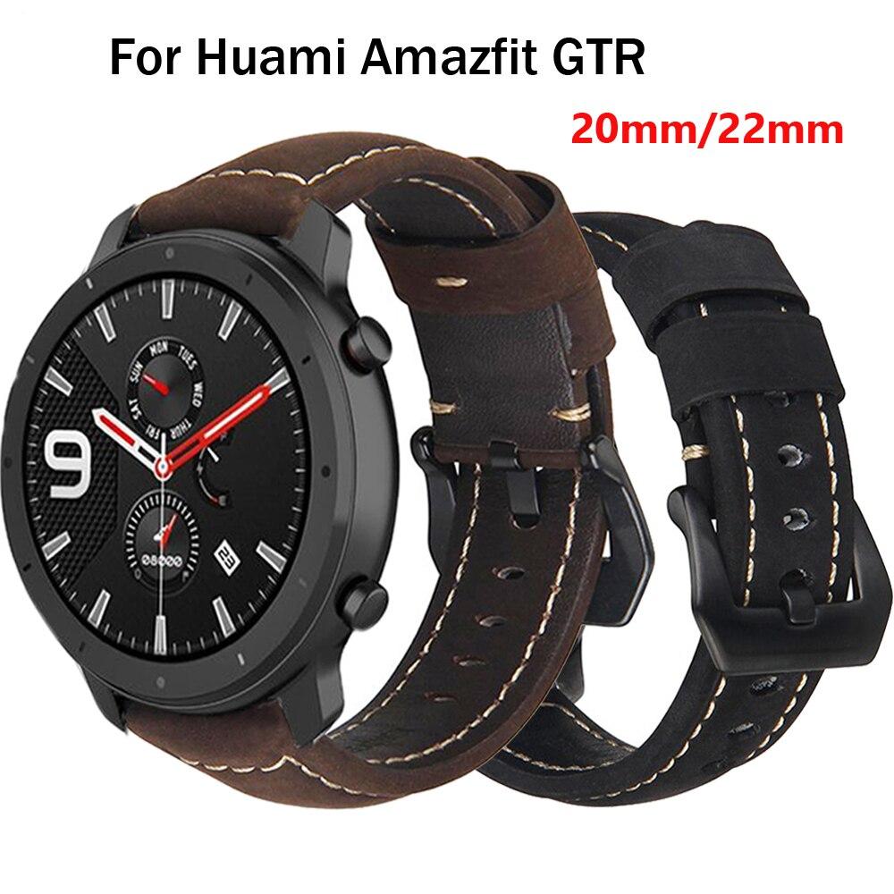 Ремешок для часов Xiaomi AMAZFIT Pace Stratos 2, кожаный ремешок для Amazfit GTR 47 42 мм, ремешок для часов, 22, 20 мм