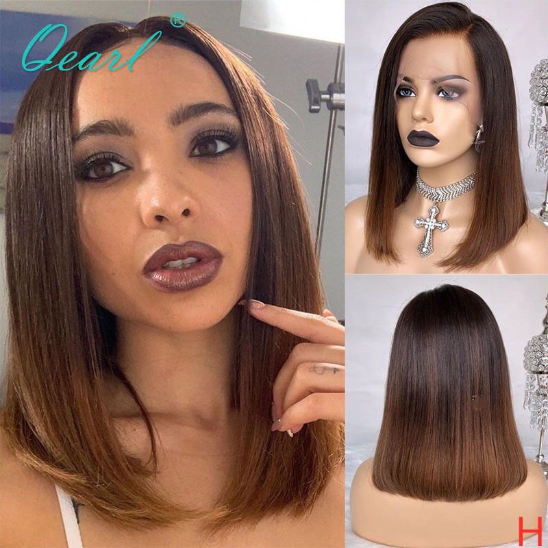 Short Bob Human Hair Lace Front Wig Ombre 1b/brown Color 13x4/13x6 Straight Remy Hair Wigs 130% 150% For Women Preplucked  Qearl