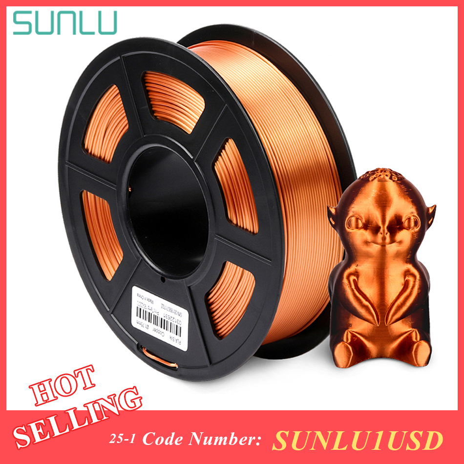 SUNLU SILK PLA Filament 1.75mm 1kg 3d Printer Filament Silk Texture 3d Printing Material Plastic PLA Dimension Accuracy +/-0.02