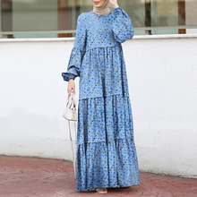 Elegant Print Ruffle Dress Women's Muslim Sundress ZANZEA Casual Puff Sleeve Maxi Vesitdos Female Layered Printed Robe Plus Size