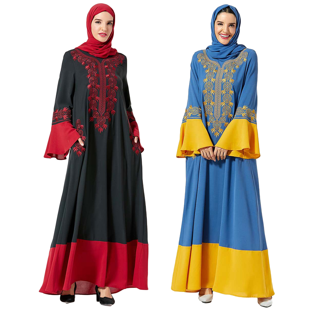 Embroidery Abaya Muslim Women Long Dress Robes Jilbab Islamic Dubai Ramadan Gown Arab Flare Sleeve Autumn Patchwork Turkish New
