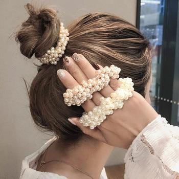 14 couleurs femme élégante perle cheveux cravates perles filles chouchous bandes de caoutchouc porte-queue de cheval accessoires de cheveux élastique bandeau de cheveux