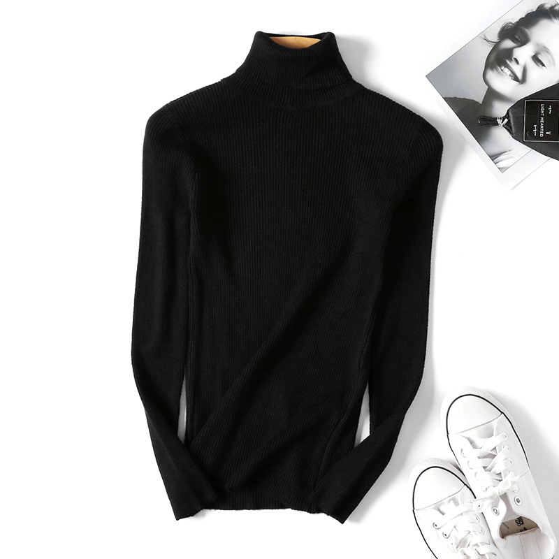 2020 AUTUMN Winter women Knitted Turtleneck Sweater Casual Soft polo-neck Jumper Fashion Slim Femme Elasticity Pullovers 10