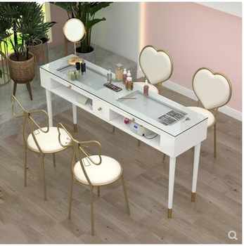 Manicure table and chair set specials Nordic single double online celebrity simple luxury paint nail table specials - DISCOUNT ITEM  26 OFF Furniture