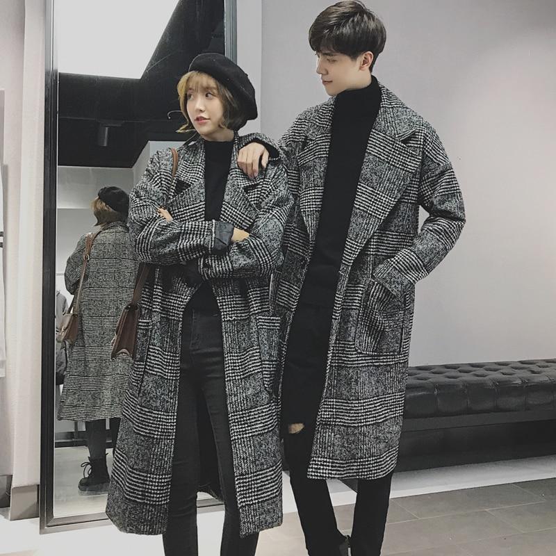 Autumn Korean Style Mens Woolen Coat Wool Blends Coats Checks Casual Overcoat Long Turn-down Collar Plaid For Male C6