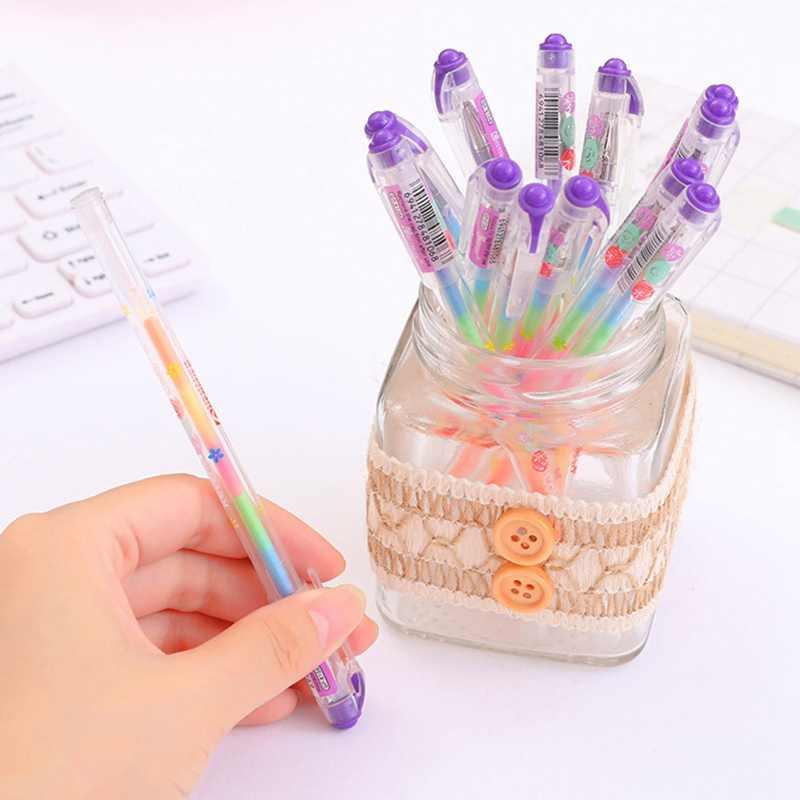 1 قطعة قوس قزح اللون هلام القلم DIY ألبوم صور الديكور قلم تحديد القلم اللوازم المكتبية