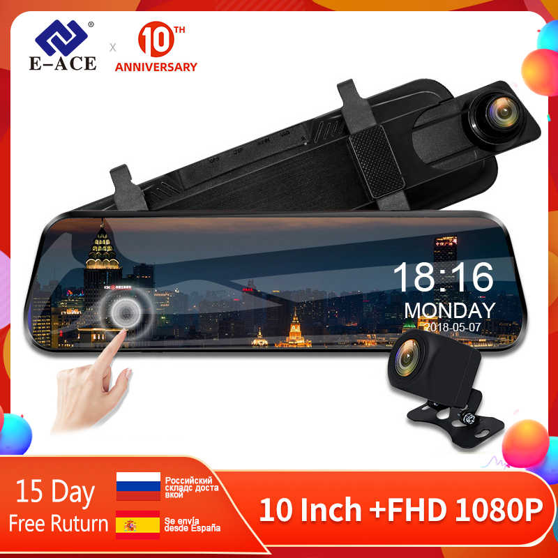 E-ACE 10 Inch Touch Mobil DVR Streaming Belakang Cermin Dash Kamera FHD 1080P Video Perekam Dual Lensa dengan kamera Belakang Belakang