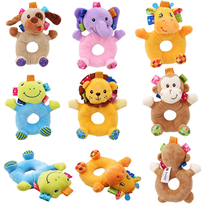 Sozzy Cute Soft Kids Baby Infant Rattles Plush Stuffed Animals Soothing Educational Circle Bell Toy For 0-12 Month Children Gift