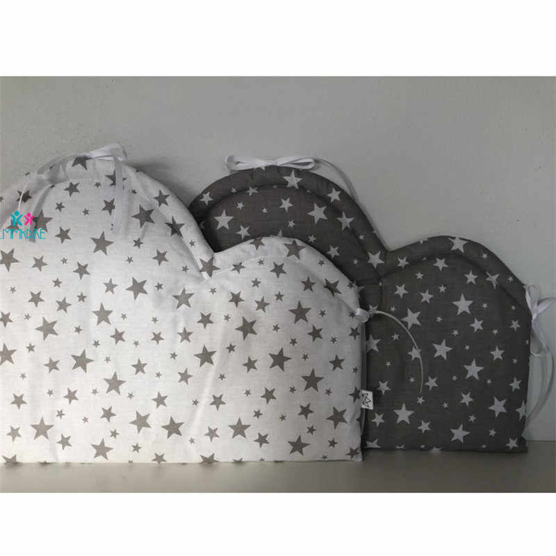 Algodão + poliéster bebê cama pára-choques berço almofada proteção de segurança almofada do bebê nuvem estilo dos desenhos animados em torno do berço