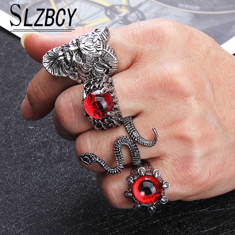Vintage Gothic Punk Mens Ring New Fashion Alloy Colorful Opal Mens Rings Finger Ring Adjustable Rings Charm Jewelry Accessories