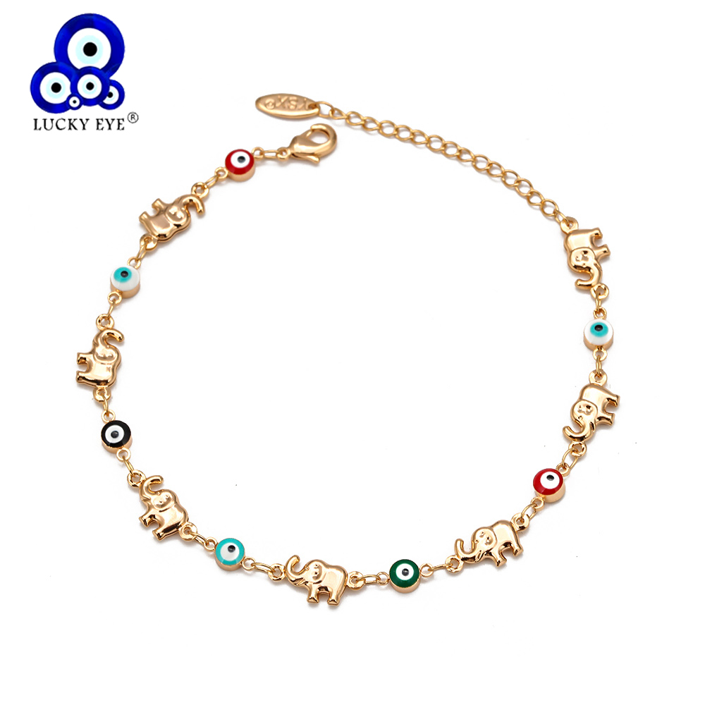 Lucky Eye Elephant Multi Color Evil Eye Anklet Gold Color Foot Chain Ankle Bracelet Adjustable for Women Girls Jewelry BD360