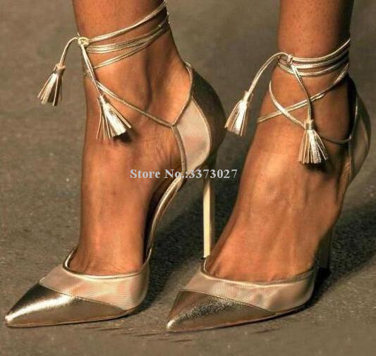 New Champagne Gold Net Decor Women Pumps Shoes Sexy Pointed Toe Lace-up Tassel Single Shoes Lady Real Photos Dress High Heels