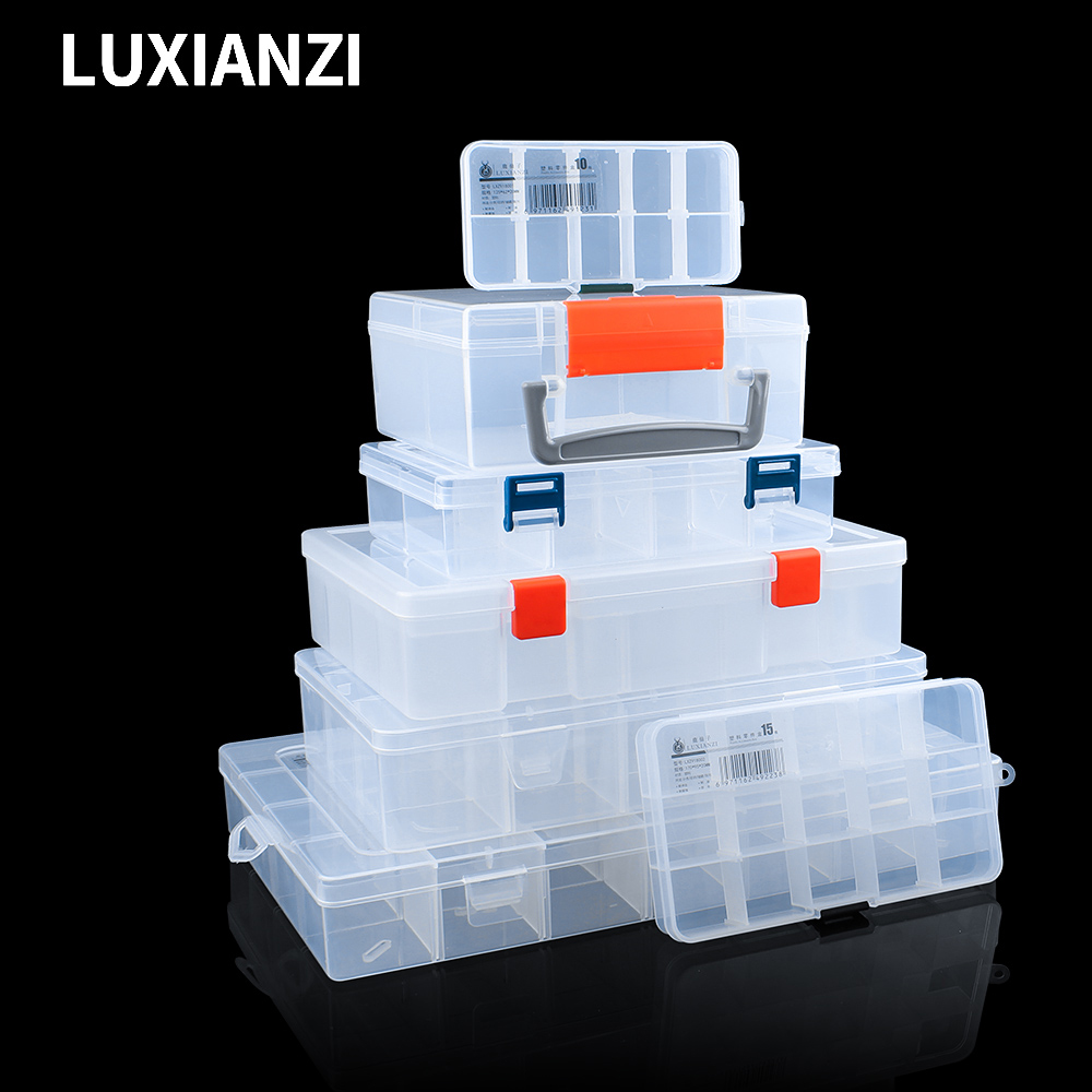 LUXIANZI Waterproof Plastic Storage Tool Box Portable Transparent Metal Parts Hardware tools Screwdriver Organizer toolbox Case