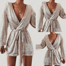 2020 Women Sequins Jumpsuit Sexy Paillette Spot Gold Silver Rompers V-neck Short