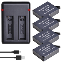 4Pcs ONE X 1200mAh Battery + Dual USB Charger with Type C Port for Insta360 ONE X Camera Batteries