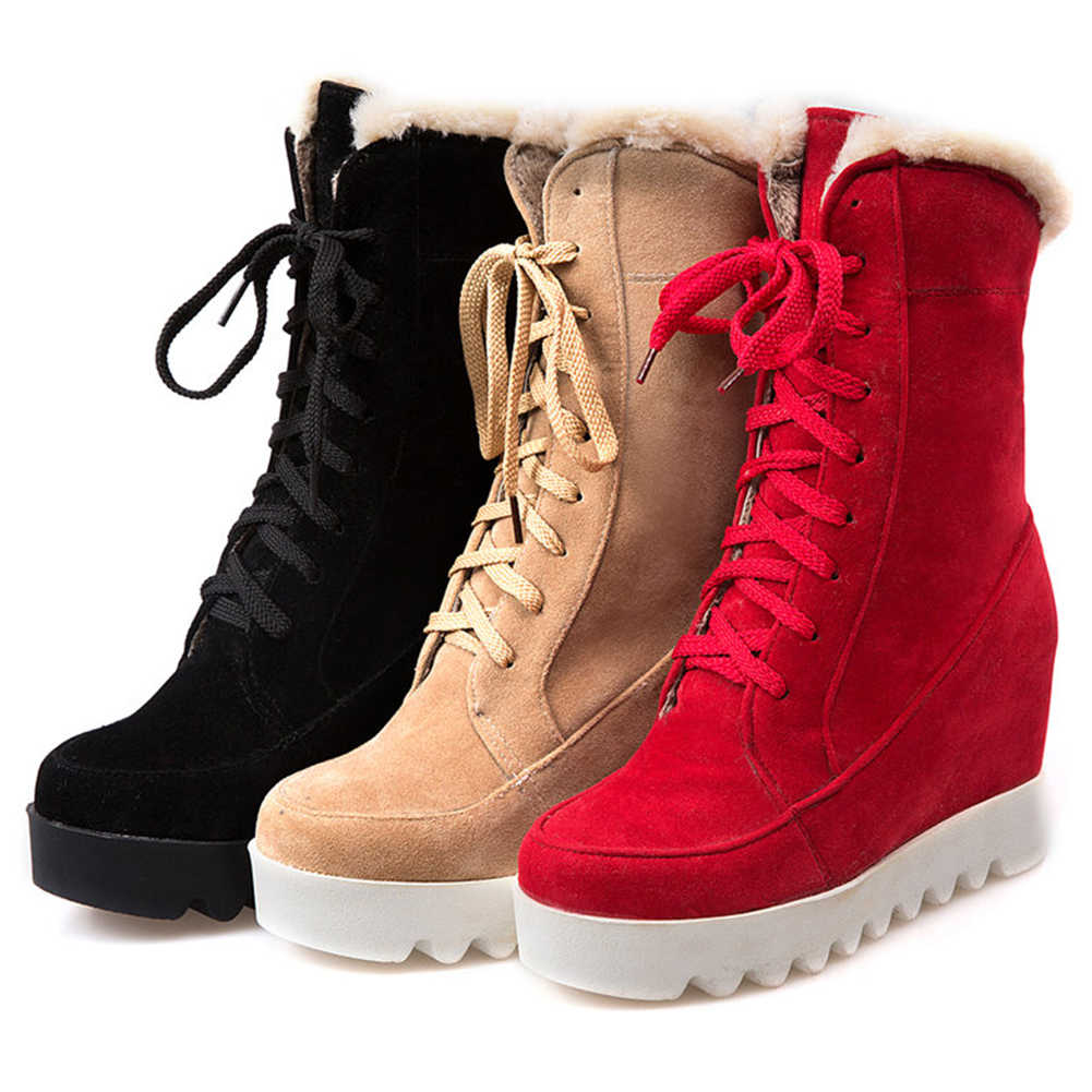 BONJOMARISA 34-43 ฤดูหนาวลื่นแพลตฟอร์มรองเท้าสุภาพสตรี Elegant ความสูงข้อเท้ารองเท้าผู้หญิง 2019 ส้นสูงรองเท้าผู้หญิง