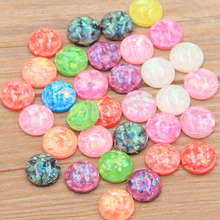 PULCHRITUDE 40pcs 12mm 2020 New Product 11 Colors Natural Ore Style Flat Back Resin Cabochons For Bracelet Earrings Accessories