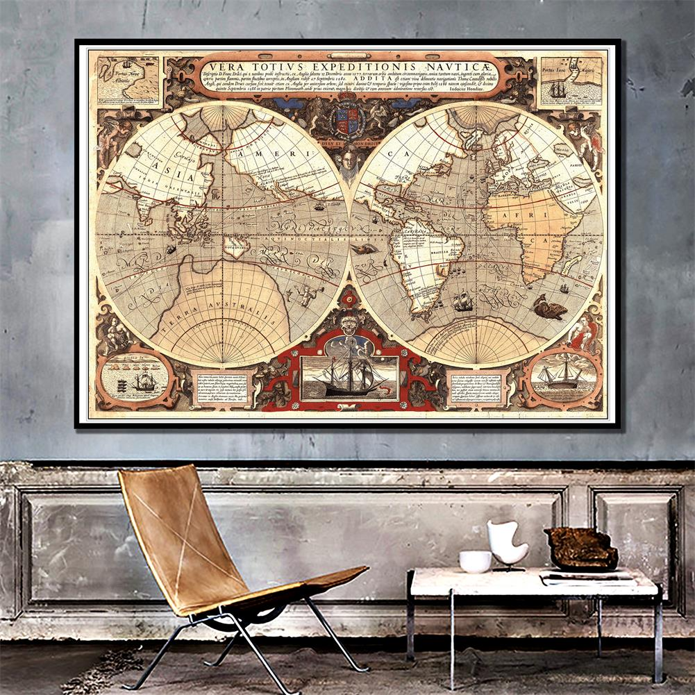 Vintage World Map Wall Poster