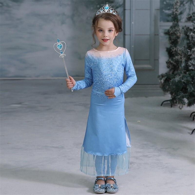 H6d534492fbe441279faef843912d3c00C 2019 Elsa Dresses For Girls Princess Anna Elsa Costumes Party Cosplay Elza Vestidos Hair Accessory Set Children Girls Clothing