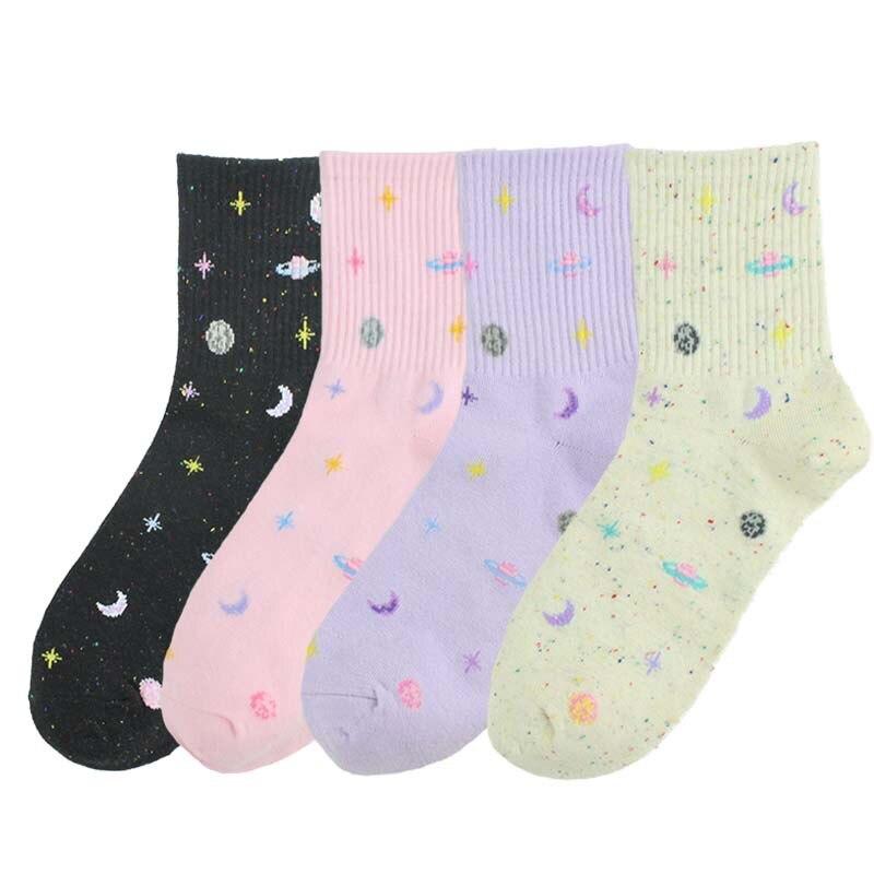 Милые новые женские носки Харадзюку из пряжи с изображением планеты, забавные носки, японские креативные носки с Луной, теплые женские носки со звездами Носки      АлиЭкспресс