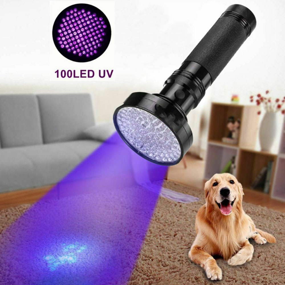 100 LED UV Ultra Violet Blacklight Flashlight Lamp Inspection Light Camping 395nm Torch