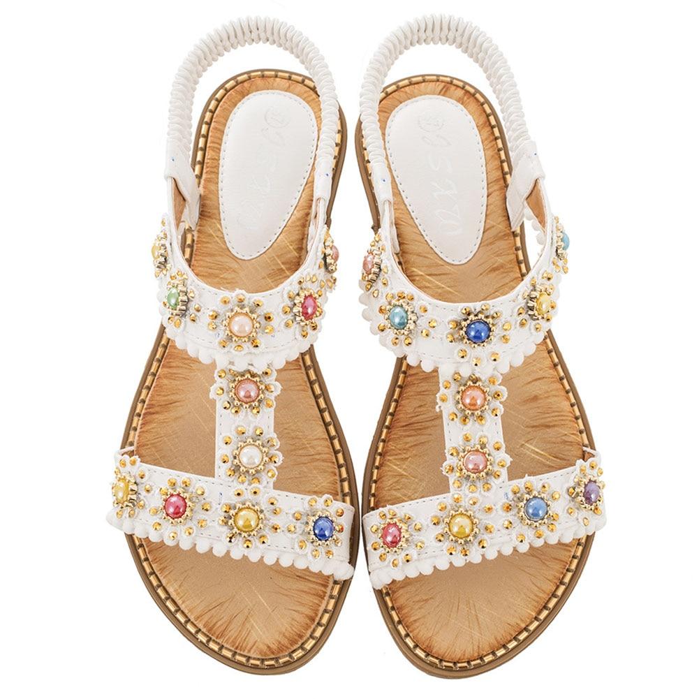 DORATASIA Casual Summer Flat Shoes 2020 Low Heels Leisure Sandals Women New Fashion Rhinestone Decorating Sandals