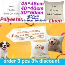 Fuwatacchi Lovers and Couples Customized Cushion cover Wedding Pictures Custom Personalized Linen photo Print Pillowcase