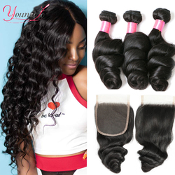 Younsolo Human Hair Loose Wave Bundles With Closure Brazilian Remy Human Hair 3 Bundles With Swiss Lace Closure Natural Black