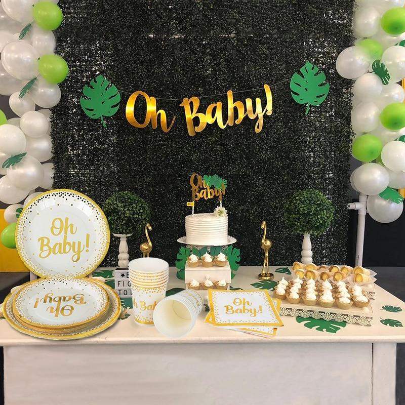 Ouro dot placa de papel copo guardanapo oh fontes de festa do bebê tema ouro chá de fraldas conjunto de talheres descartáveis babyshower menino menina favor