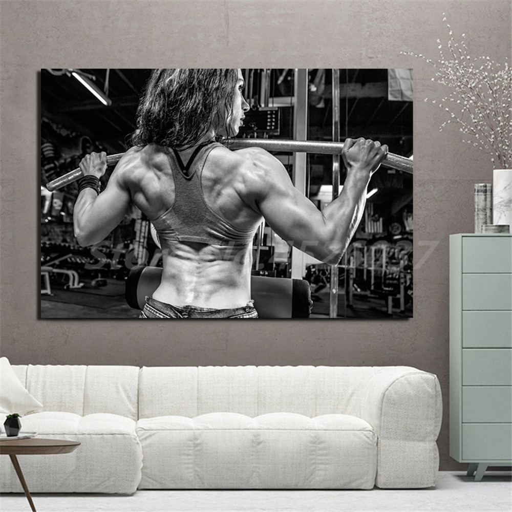 Bodybuilding Girl Fitness Motivational Quotes Canvas Painting Oil Print Poster Wall Art Picture For Living Room Home Decor Leather Bag