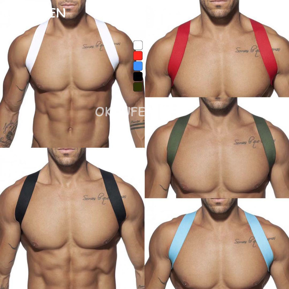 Nightclub men's chest straps colorful