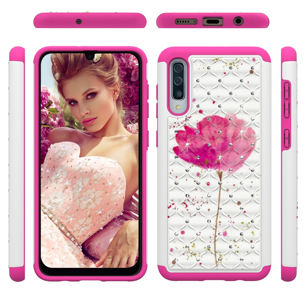 Glitter Diamond Phone Case For Samsung Galaxy A30 A50 A20 A20e A10e Note 10 Note10 Pro PC TPU Hybrid Bling Protective Back Cover in Fitted Cases from Cellphones Telecommunications