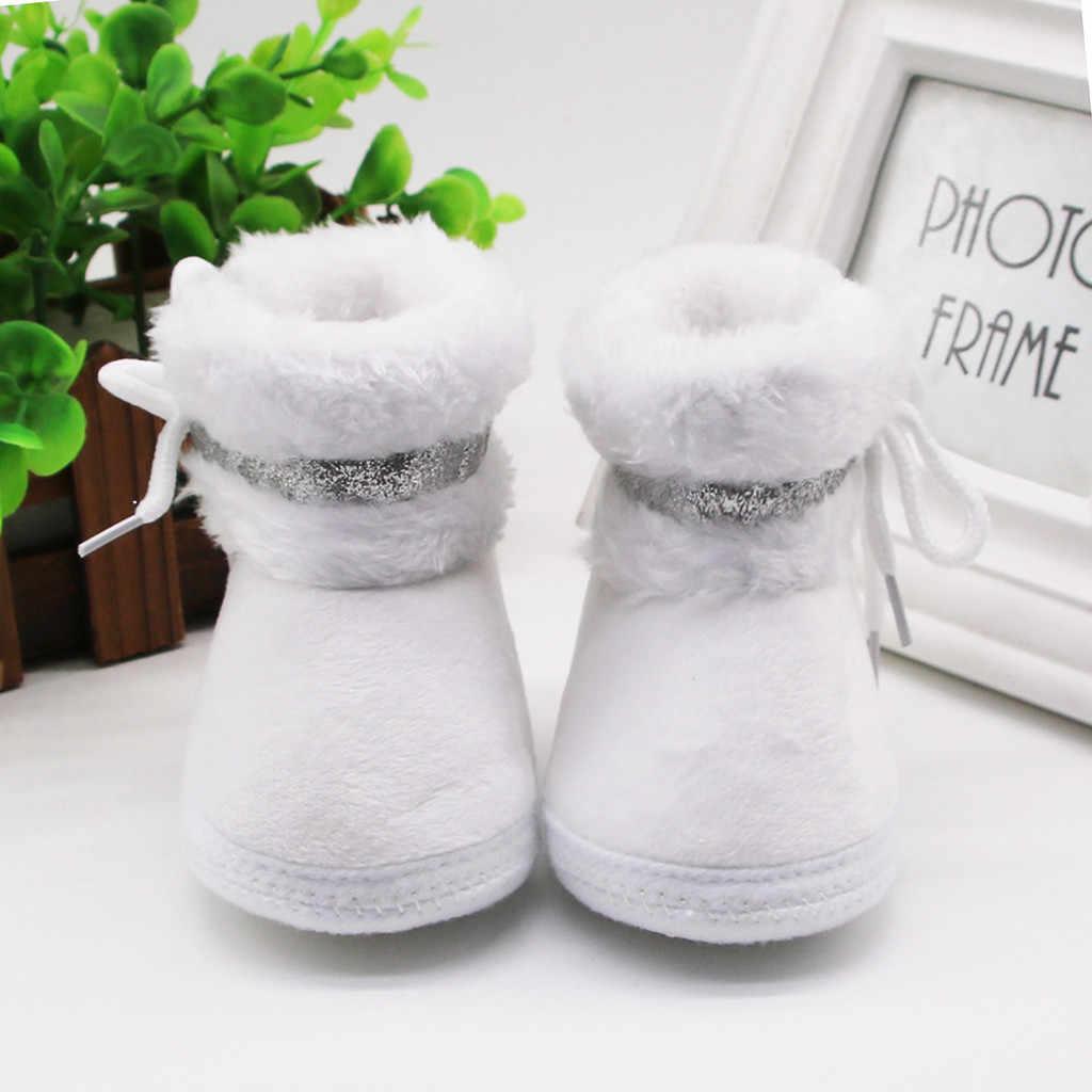 Newborn Baby Socks Shoes Boy Girl Cashmere Plush Winter Toddler First Walkers Booties Bandage Soft Anti-slip Warm Crib Shoes